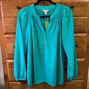 Lilly Pulitzer Turquoise Silk Elsa Top Size L NWT